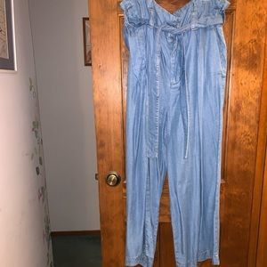 Zara Soft Denim Pants Blue M High Waisted Tie